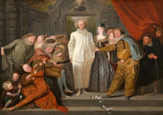 Watteau, Antoine: The Italian Comedians. Fine Art Print/Poster. Sizes: A4/A3/A2/A1 (004081)